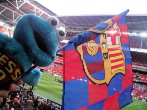 photo of Triki En El Mundo at the Wembley Europe Cup final between Barca and M