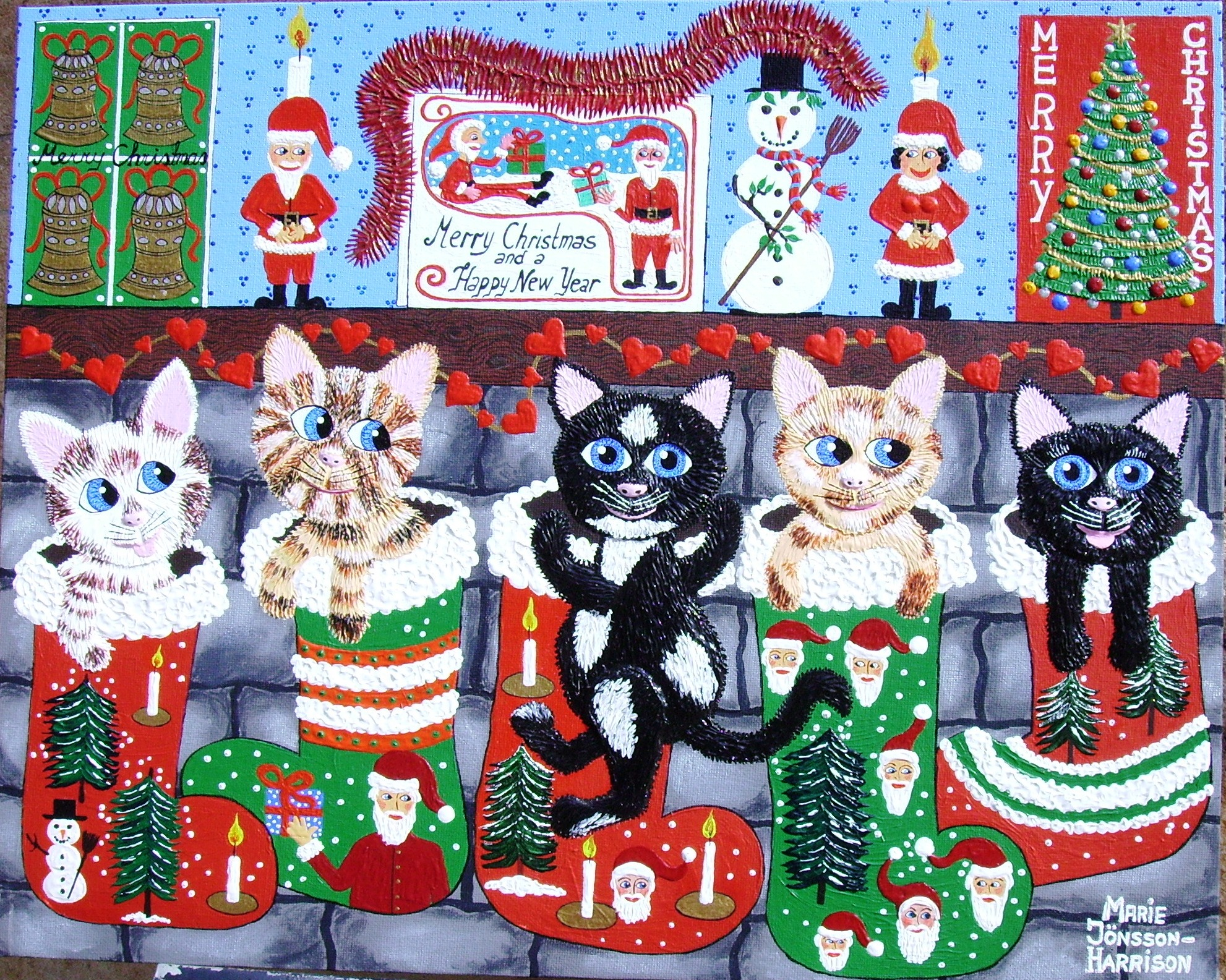 naive painting of cats in christmas stockings hanging from a mantle piece in acrylic on canvas board
