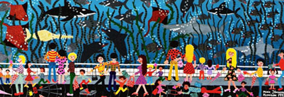 Marie Jonsson-Harrison's painting full of fish with people walking past the glass in bright colors