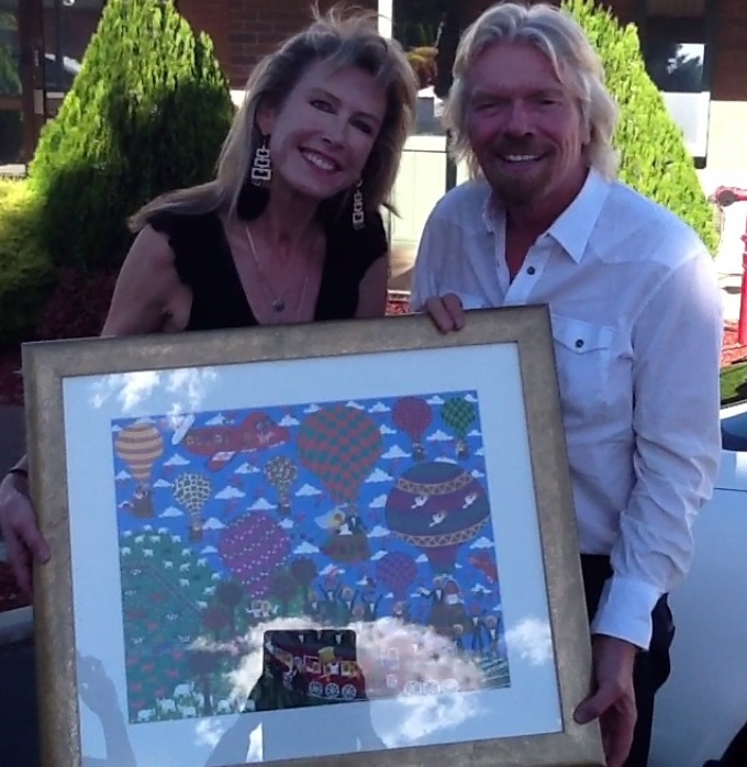 artist Marie Jonsson-Harrison with Richard Branson from Virgin Airlines in Adelaide, South Australia
