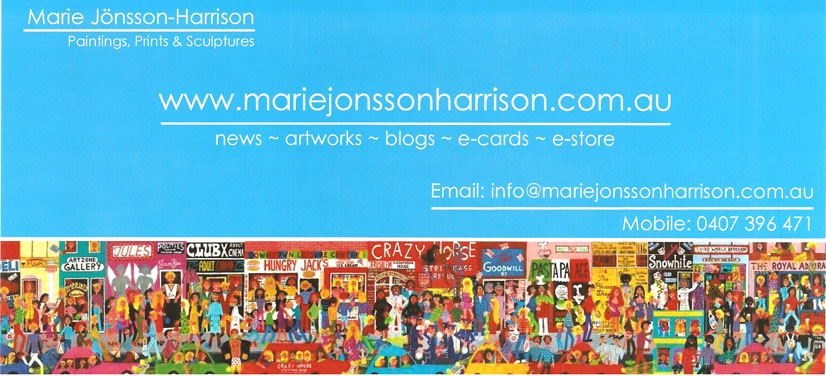 Artist Marie Jonsson-Harrison's business card with Hindley Street painting on it