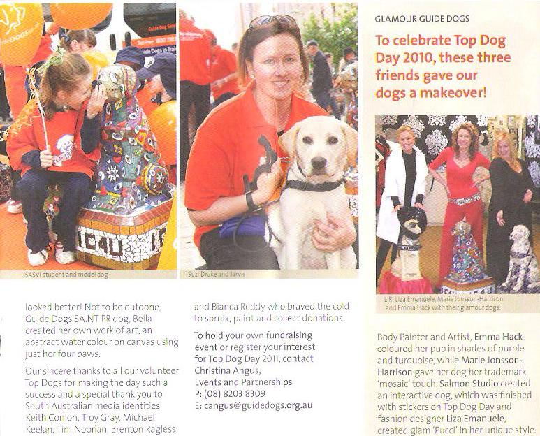 Artists Emma Hack & Marie Jonsson-Harrison's sculptures for Guide Dogs with Fashion Designer Liza Emanuele