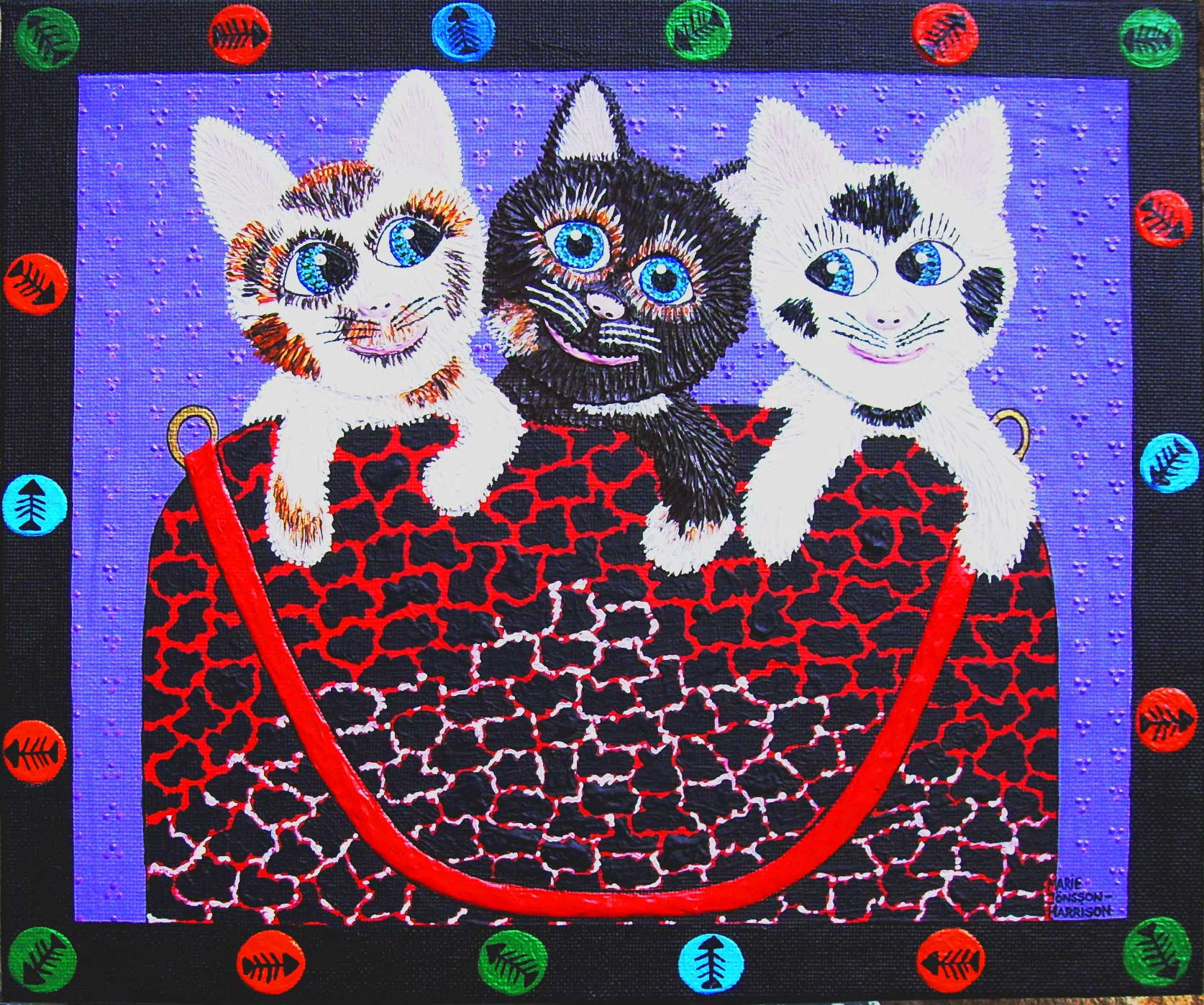 three cats sitting in a designer bag by naive artist marie jonsson harrison