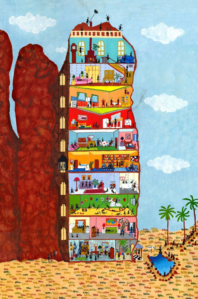 outsider artist Marie Jonsson's painting of a termite stack or anthill from the Northern Territory in Australia complete with apartments for the ants