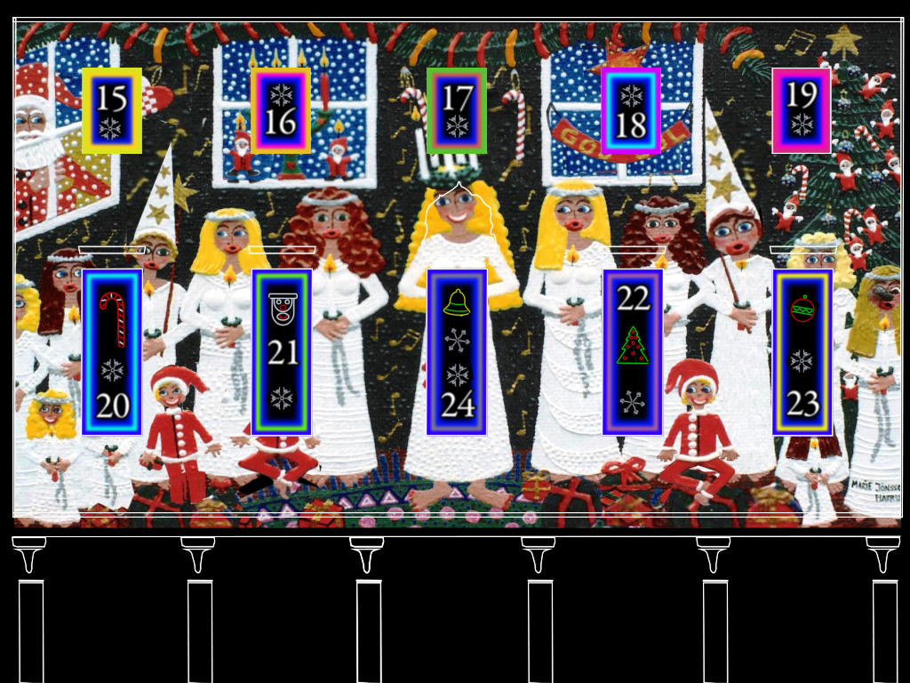 animated painting of Swedish traditional Lucia procession by artist marie jonsson harrison animated by Błażej Krajczewski