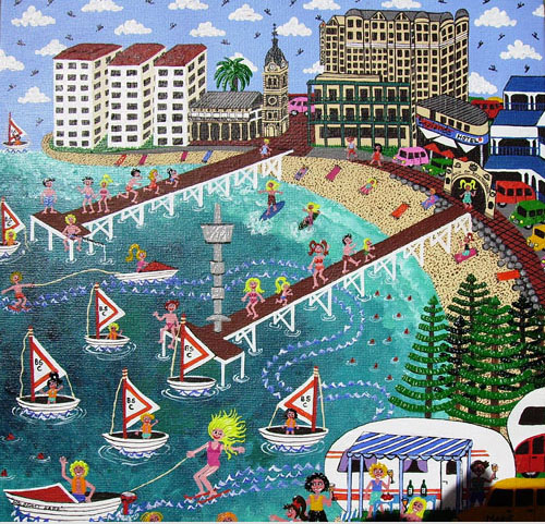 scenery of Brighton and Glenelg Beach,South Australia,in naive painting style,bright and colorful