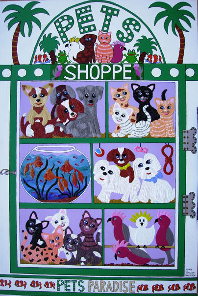 Pet shop window display of animals for sale by artist Marie Jonsson-Harrison