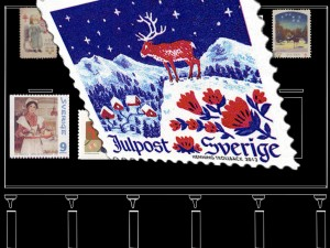 Swedish Christmas stamp with a reindeer in the snow animated by Błażej Krajczewski