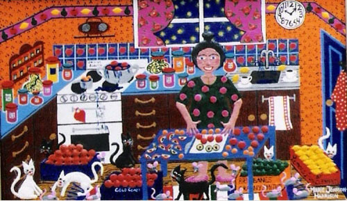 acrylic on canvas board painting by outsider artist Marie Jonsson-Harrison of a country kitchen and making Jam