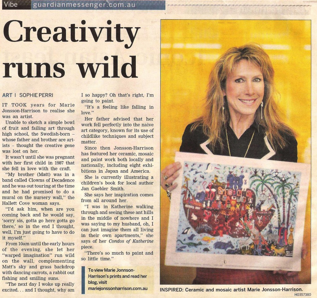 photo and newspaper article of Naive artist Marie Jonsson-Harrison & Noahs Ark Giclee Print