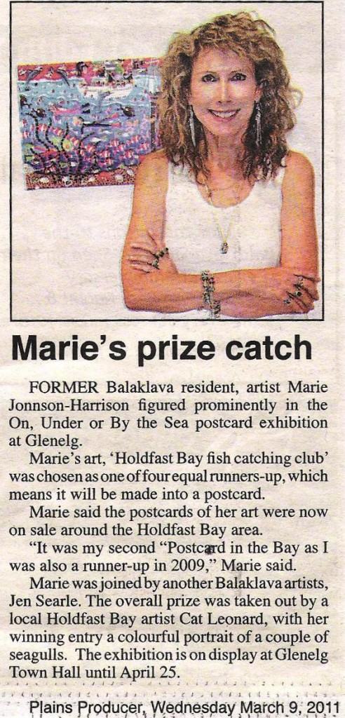 Artist Marie Jonsson-Harrison with her winning entry in Postcards at the Bay 2011 competition at Holdfast Bay