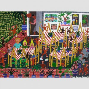 Naive painting by Marie Jonsson-Harrison of her family in the Monkey Forest in Ubud,Bali