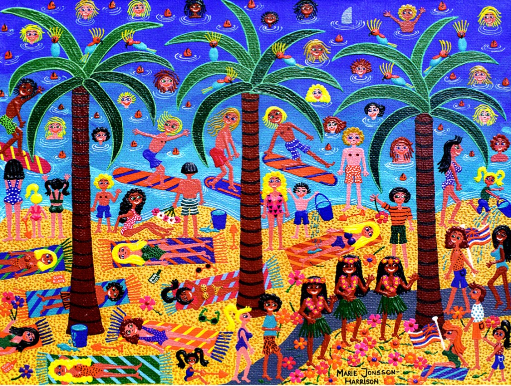 naive painting of palm trees,a sandy beach and surfers and sun-seekers enjoying themselves
