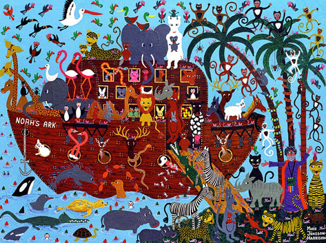 Noahs Art depicts all the animals on the ark in a Naive and colourful way by artist Marie Jonsson-Harrison