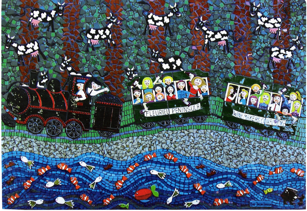 ceramic and mosaic artwork by artist Marie Jonsson-Harrison of happier times before the Noarlunga Rail Electrification and the misleading South Australian Ministers