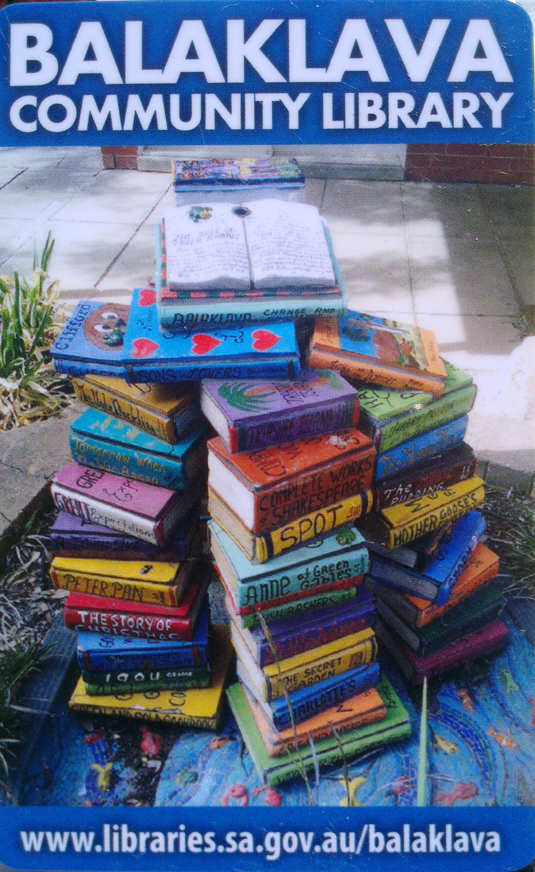 library borrowing card, one card network,balaklava, water feature make of colourful books, public sculpture