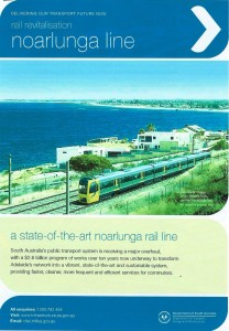 misleading artist impression of the Noarlunga railway electrification showing a train with poles spaced widely and no wire or infrastructure spoiling the view