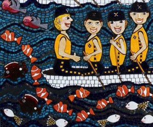 mosaic and ceramic sculpture with Nemo type tropical fish and a gang of 8 rowing, sculling along