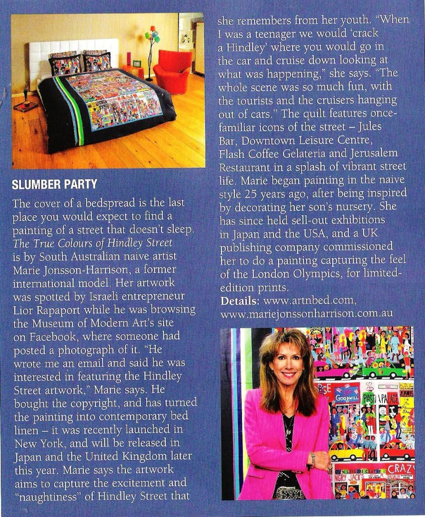 SA Life Magazine article about artist Marie Jonsson-Harrison and her paintings made into quilts & duvet by ArtnBed.