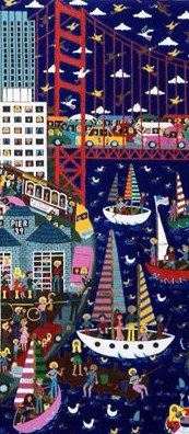naive painting detail by Marie Jonsson-Harrison called I love San Francisco,of the city and people