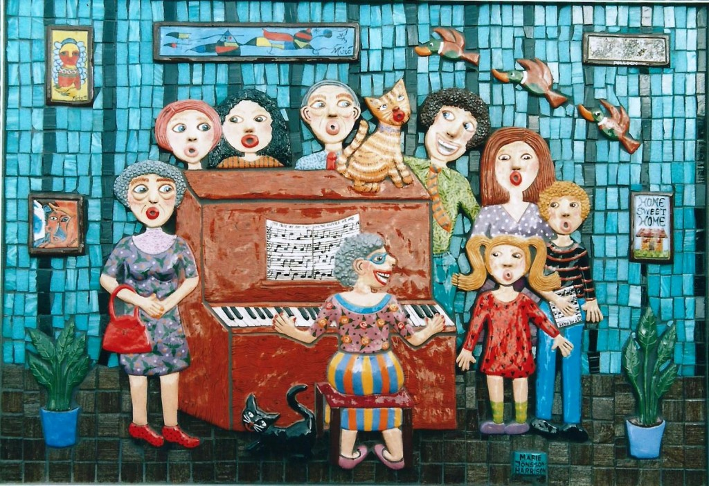 ceramic and mosaic wall based sculpture by artist Marie Jonsson-Harrison, featuring singers around a piano