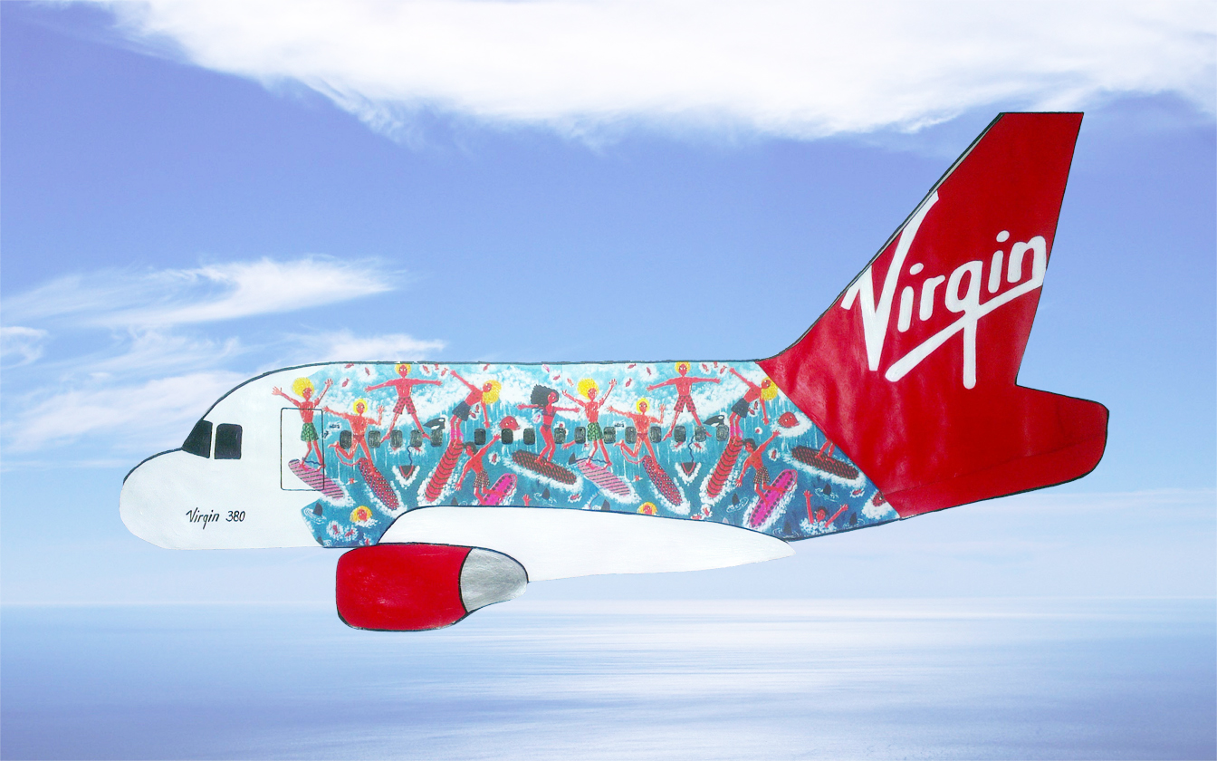 Richard Branson's Virgin airplane design of Australian surfers painted by south australian artist marie jonsson harrison