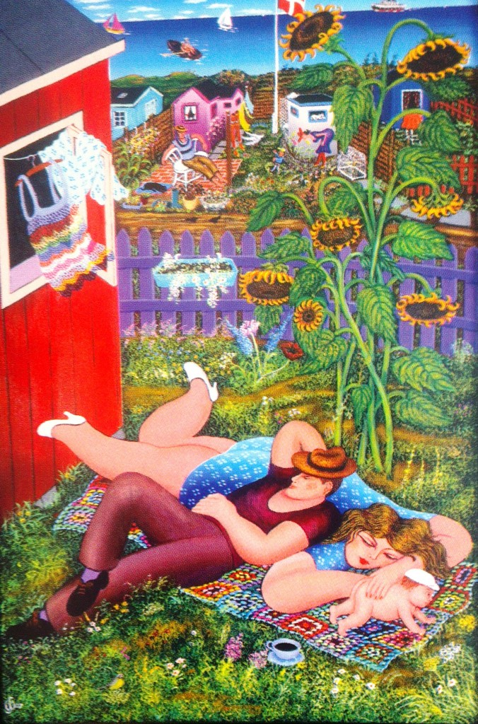 relaxing snooze on a summers day by Danish naive artist