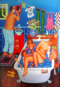 naive painting of a family in the bath by Danish artist