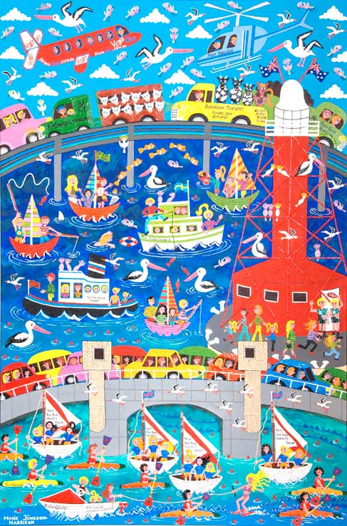 painting called the two bridges of Port Adelaide in naive style with the red lighthouse and boats,cars and trucks,planes and helicopter and happy people