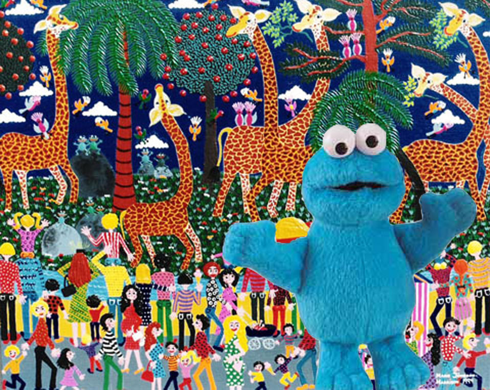 painting At the Zoo,by artist marie jonsson harrison with cookie monster Triki En El Mundo