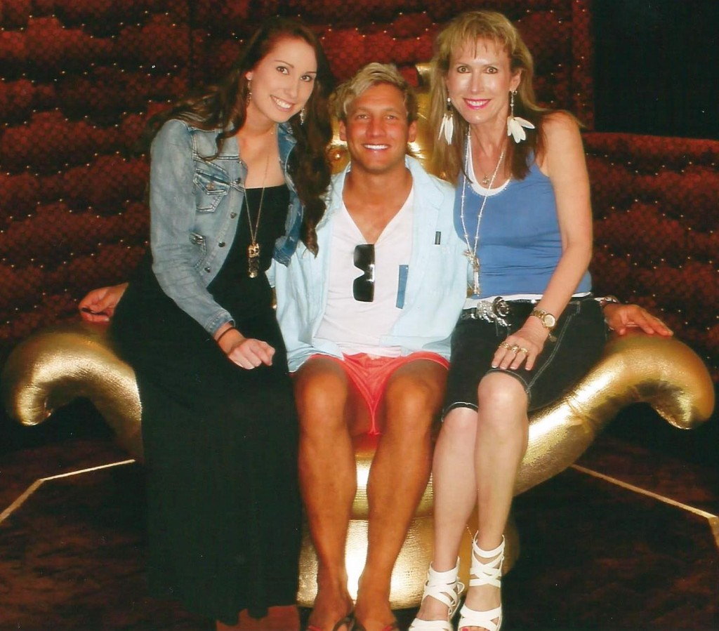mother and daughter sitting in Big Brothers diary room with 2013 evictie Caleb Geppert