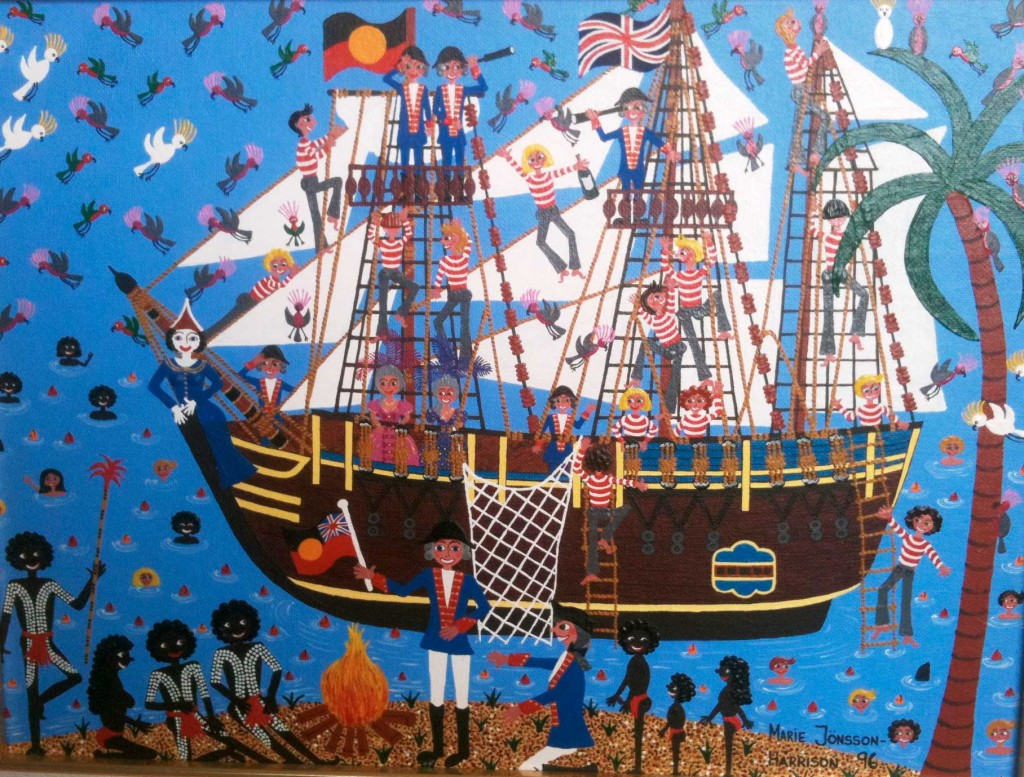 painting of captain cooks ship arriving in Australia with aborigines on the beach and the ship flying both the union jack flag and the aboriginal flag