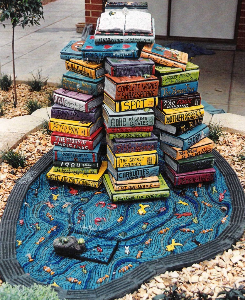 Book sculpture by artist Marie Jonsson Harrison, Balaklava libraries, water feature made from hebel,ceramic and mosaic