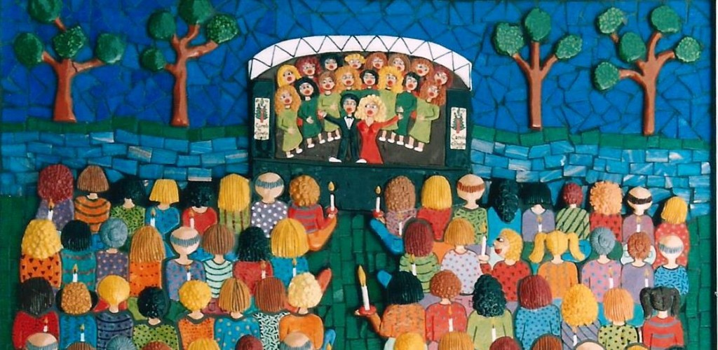 detail of stage and audience of carols by candlelight as a wall based sculpture in mosaic and ceramic
