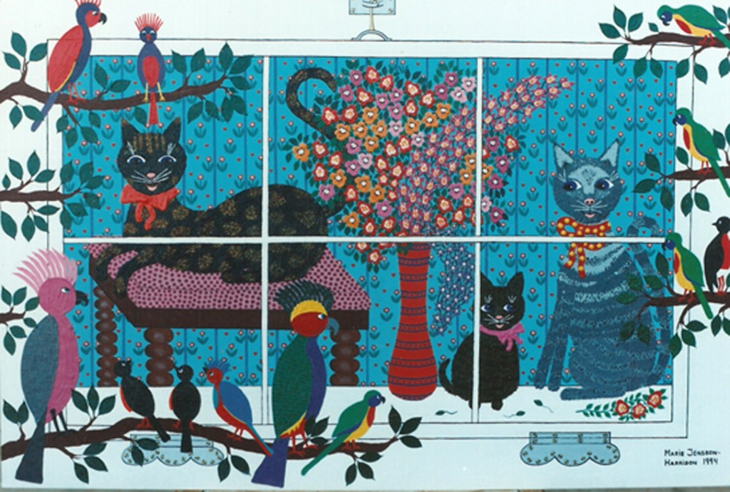 naive painting by Marie Jonsson-Harrison, cats watching birds outside their window thinking of lunch.