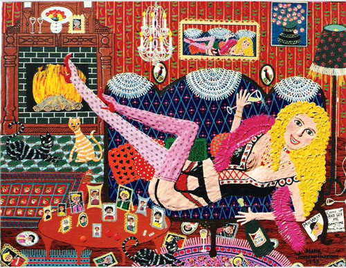 outsider artist Marie Jonsson-Harrisons painting of Mae West, of her in suspenders on a couch with champagne and photos of men.