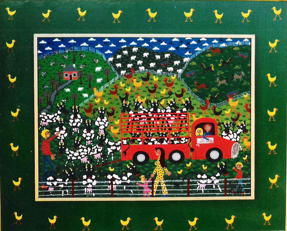 Naive artist Marie Jonsson-Harrisons painting of the cows arriving to the farm