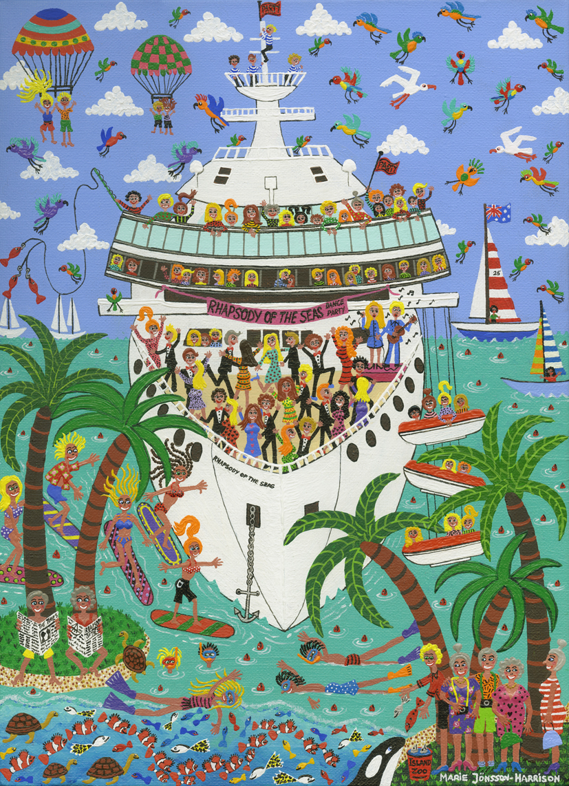 naive painting of people enjoying a cruise ship holiday,with tenders,and island life and boats,birds and tourists