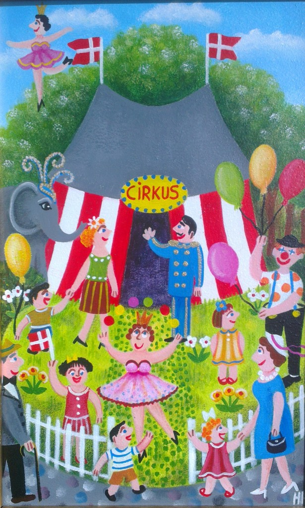 painting of a circus tent with a clown,elephant,juggling,tightrope walker in naive style