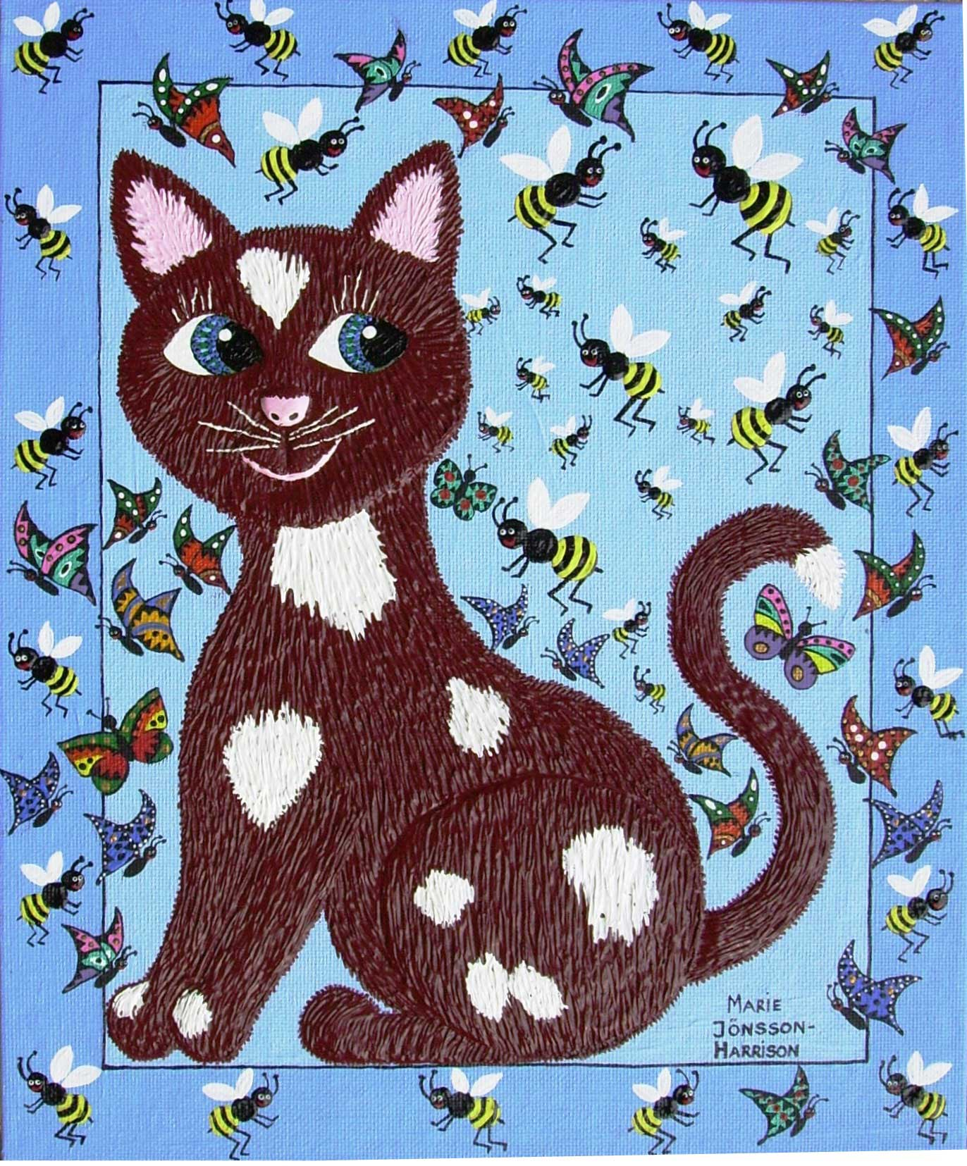 naive painting of a cat with bees and butterflies buzzing all around by artist marie jonsson harrison