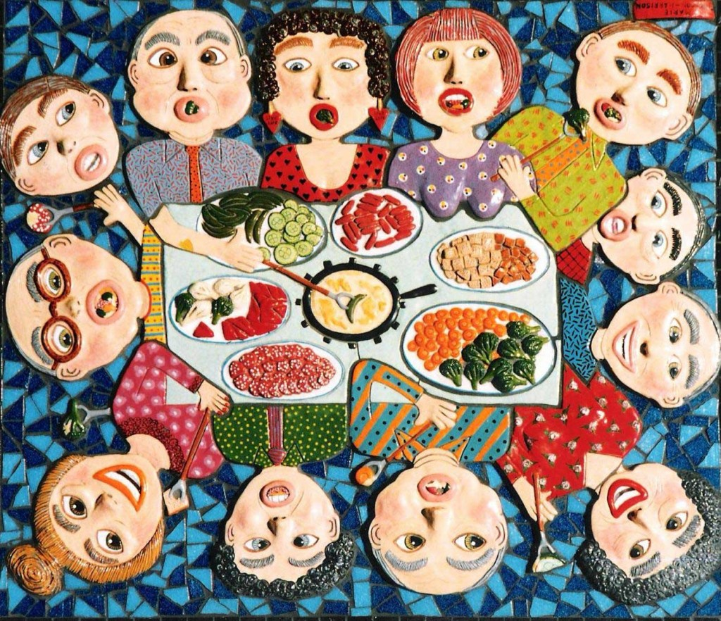 artist marie jonsson-harrison's sculpture in ceramic and mosaic of people around a table eating fondue