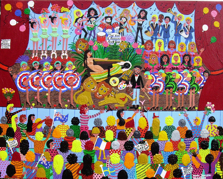 painting celebrating the art of henri rousseau in a contemporary setting with dancing girls,can can girls,singers and a rockband