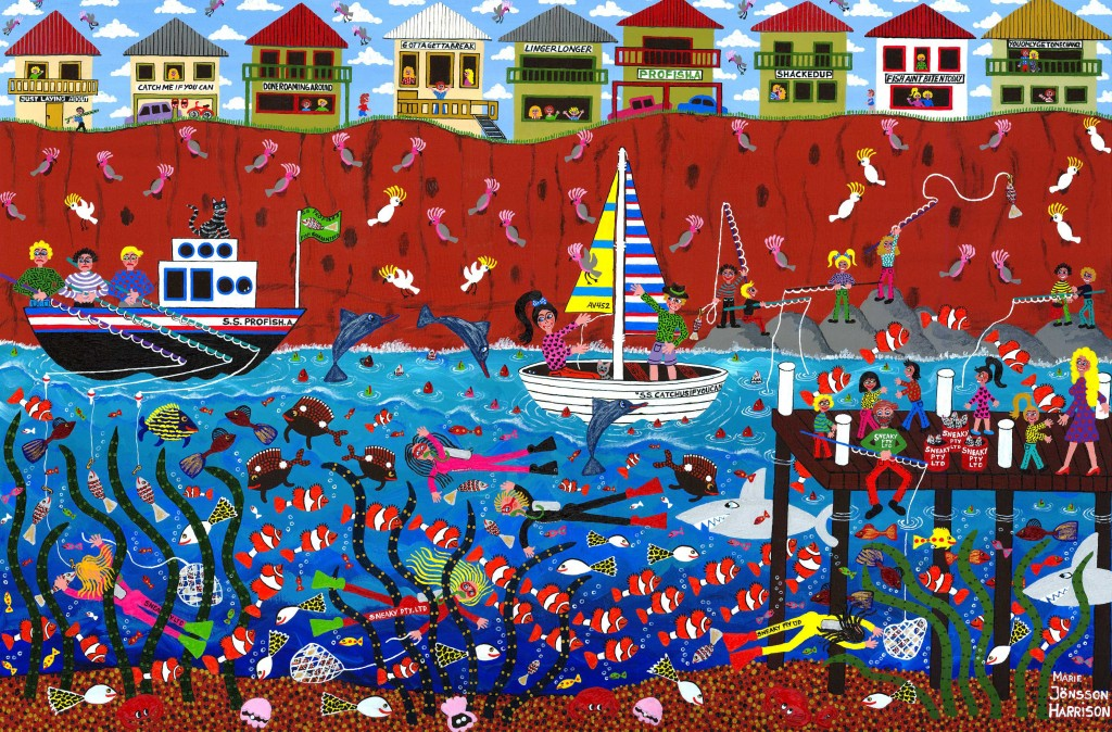 outsider artist marie jonsson harrison's giclee print of underwater life,fish,divers,sharks,boats and a jetty and fishermen