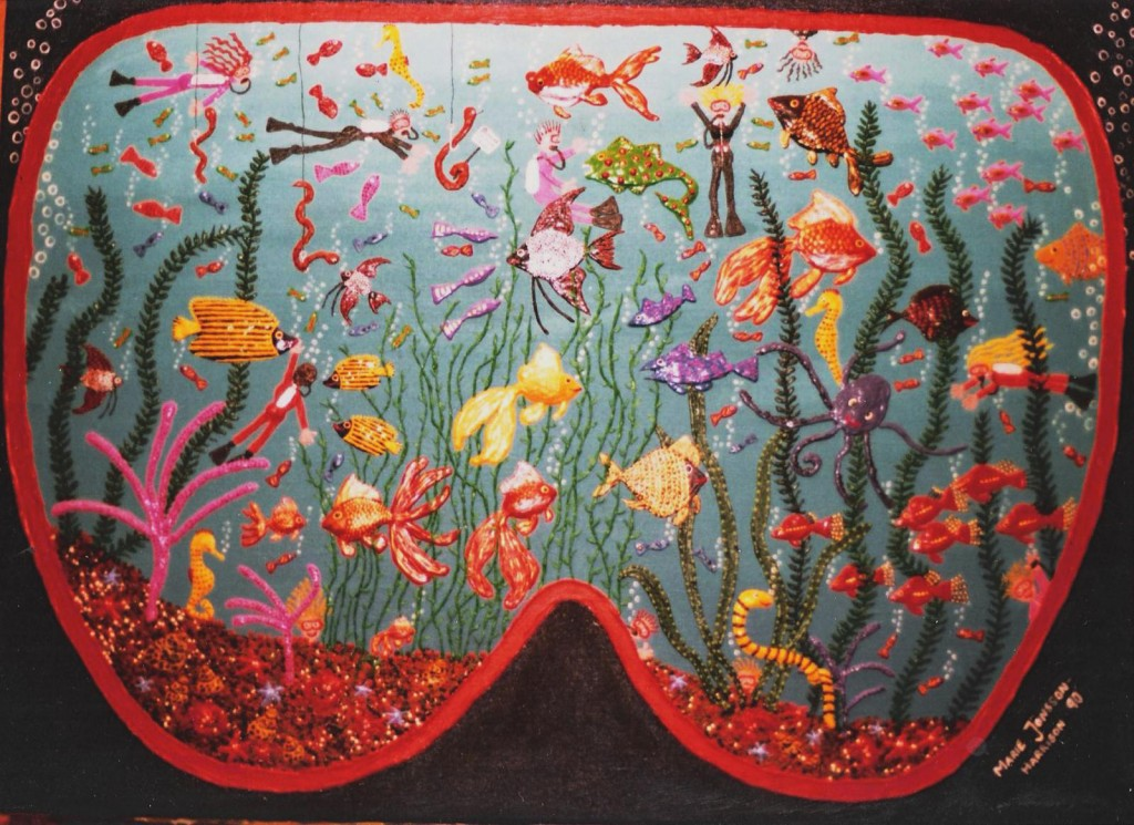 naive scenery of an underwater view through a pair of Googles by artist Marie Jonsson-Harrison