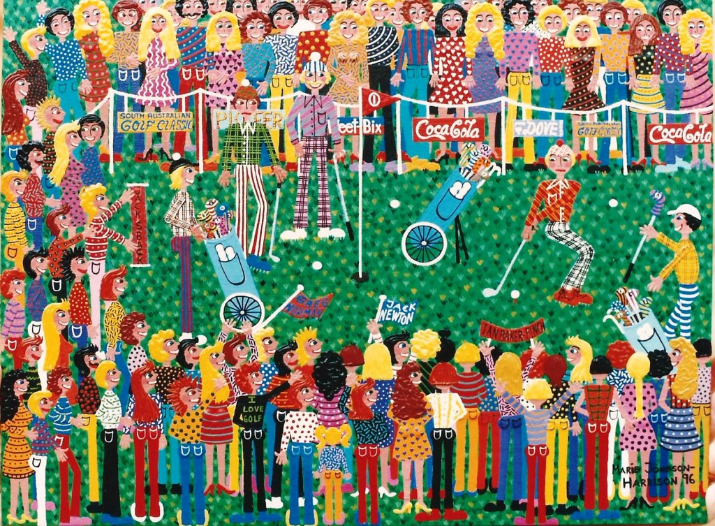 colorful painting of a golf tournament by australian artist marie jonsson harrison