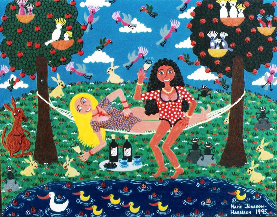 Naive painting of Australian girls in a hammock by Marie Jonsson-Harrison