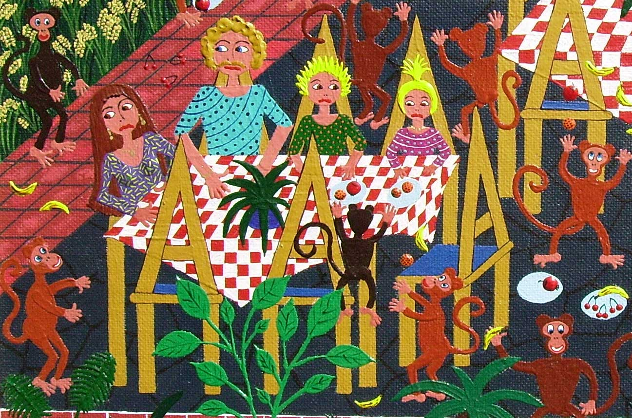 naive painting of Our family in Ubud Bali's Monkey Forest and being frightened by male monkey