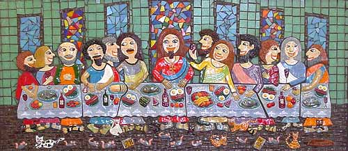 ceramic and mosaic wall sculpture of the last supper by artist marie jonsson harrison
