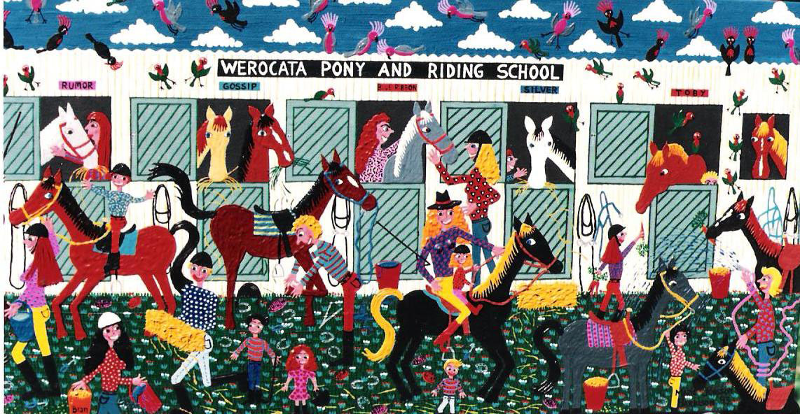 naive painting of a pony club stable and horses by artist Marie Jonsson-Harrison
