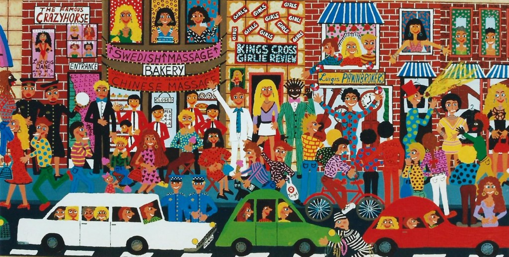 naive painting of Kings Cross by artist Marie Jonsson-Harrison with prostitutes and pimps, strip clubs and police,